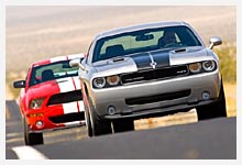 Séquence photos Dodge Challenger SRT-8 et Shelby GT500